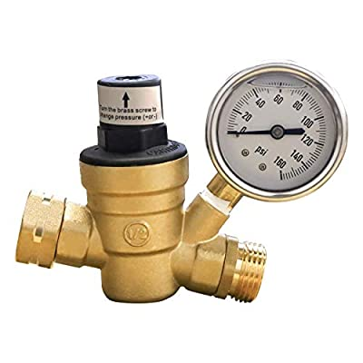 Xiny Tool Water Pressure Regulator for RV Camper, Adjustable Brass RV Water Pressure Reducer with Gauge and Stainless Screened Filter from Xiny Tool