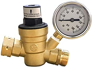 Xiny Tool Water Pressure Regulator for RV Camper, Adjustable Brass RV Water Pressure Reducer with Gauge and Stainless Screened Filter