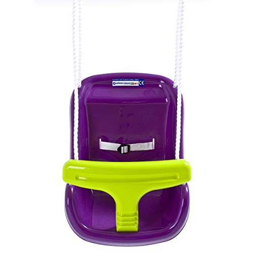 Hörby Bruk Hörby Bruck babyschommel exclusief (schommelstoel, hoge rugleuning, veiligheidsgordel, metalen ringen, kleur paars/geel) 4023