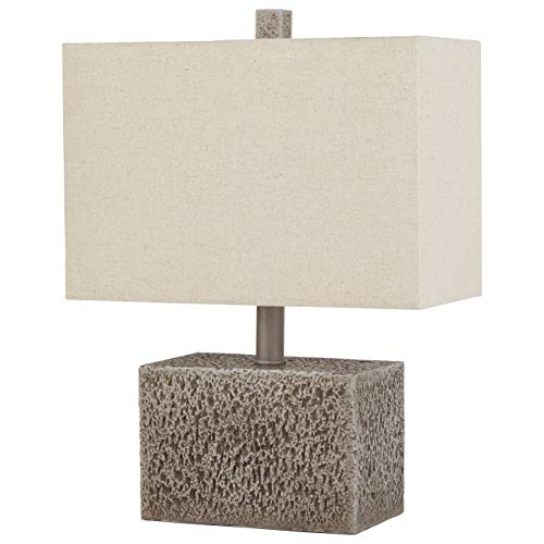 Amazon Brand  Stone & Beam Modern Slate Rock Table Desk Lamp with Light Bulb And Linen Shade,16
