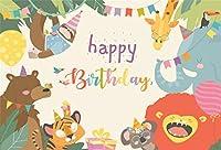 Amxxy 写真のための9x6ftビニールお誕生日おめでとう背景漫画動物パラダイスジャングルパーティー森野生動物写真の背景ベビーシャワー新生児男の子女の子ポートレート写真装飾スタジオ小道具
