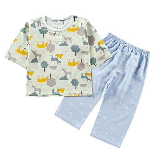 DEBAIJIA Niños Pijama 0-12T Bebé Ropa de Dormir Infantil Homewear Niña Ropa Casual Niño Animado Lindo Algodón Verano Conjuntos (Gris -150