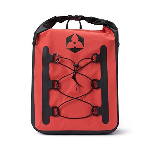#DoYouOutdoor wasserdichte Fahrradtasche für Gepäckträger Gepäckträgertasche, Rucksack, Umhängetasche für Einkaufen, Arbeit Fahrradtour mit Tragegurt in Rot