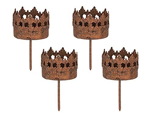 BigDean 4er Set Teelichthalter aus Metall - Gartenstecker Rost - 5,2 cm, H 10,5 cm - Gartendeko Vintage Landhaus Windlicht Adventskranz Teelichter