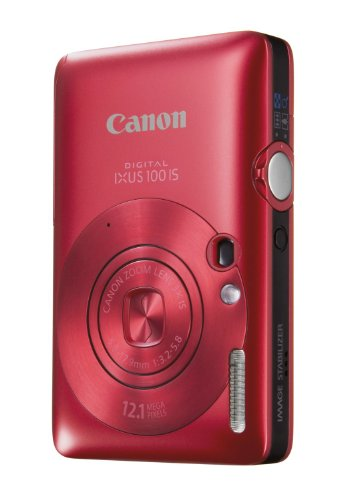 Canon Digital IXUS 100 IS Digitalkamera (12 MP, 3-fach opt. Zoom, 6,4cm (2,5 Zoll) Display, HDMI, SLIM) rot