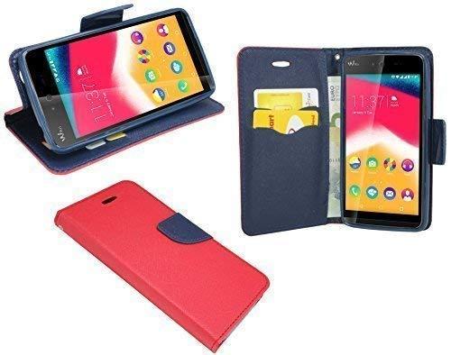 ENERGMiX Buchtasche kompatibel mit Wiko Rainbow Jam Hülle Hülle Tasche Wallet BookStyle mit Standfunktion in Rot-Blau (2-Farbig