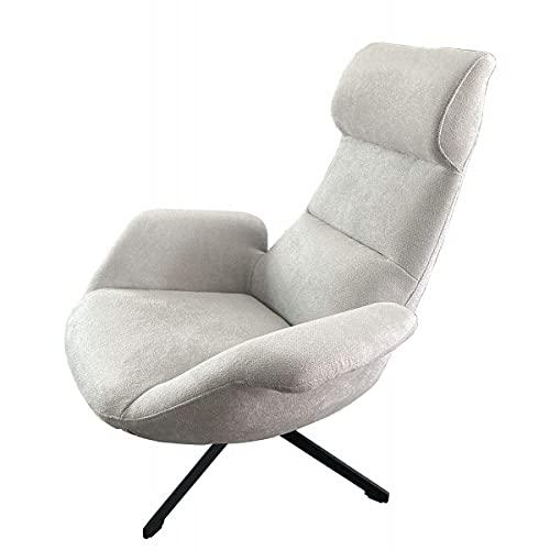 MATHI DESIGN ASTI - Poltrona confortevole in tessuto, colore: grigio chiaro