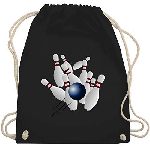 Shirtracer Bowling & Kegeln - Bowling Strike Pins Ball - Unisize - Schwarz - kegeln beutel - WM110 - Turnbeutel und Stoffbeutel aus Baumwolle