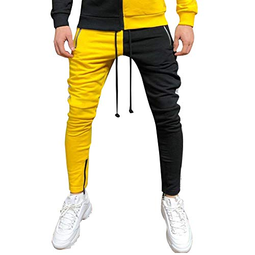 Mens Tracksuit Set Full Zipper Patchwork Hoodie Hip Hop Premium Slim Fit Track Jogger Pants with Side Taping (L, Only Pants Black Yellow)