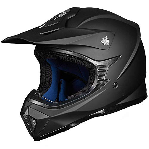 ILM Adult ATV Motocross Dirt Bike Motorcycle BMX MX Downhill Off-Road MTB Mountain Bike Helmet DOT Approved (Matte Black, Adult-L)