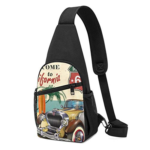Sling Bag for Men Anti-Theft Shoulder Backpack American Vintage Car Route 66 Chest Bags Adjustable Cross Body Lightweight Daypack Bicycle & Sport