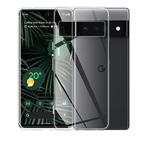 ELYCO Hülle für Google Pixel 6 Pro, Superdünnes Softschale R&umschutz Anti-Fall Anti-Fingerabdruck TPU Liquid Handyhülle Durchsichtige Schutzhülle Hülle für Google Pixel 6 Pro [Transparent]