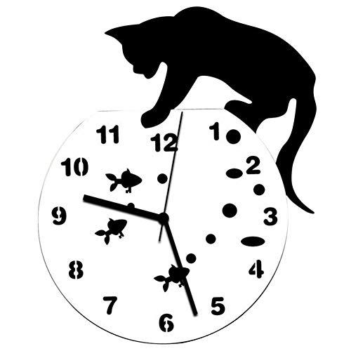 ZYUEER Horloge Stickers Murale, Horloge Bureau Chat Et Poisson Rouge Cute Pas Cher (Noir)