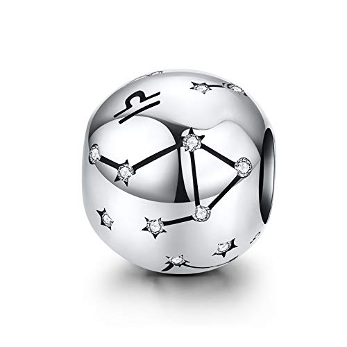 LaMenars 12 Constellation Charms Star Sign 925 Sterling Silver Zirconia Bead Charm Fits European Bracelets & Necklaces (Libra (9.23.-10.23))