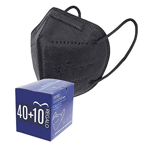 Mascarillas FFP2. 40 + 10 de Regalo. Mascarillas ultra protección. 5 capas. Homologada. Certificado CE EN149:2001+A1:2009 FFP2 NR. 2 Cajas de 20 + 5 Unidades de REGALO. PACK PAULA ALONSO (50 NEGRAS)