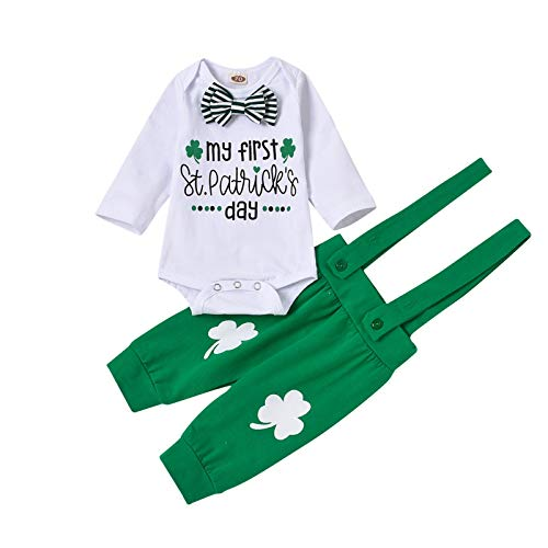Samore St. Patrick's Day Baby Jungen Mädchen Langarm Bedruckt Strampler + Hosen Outfit Set Rot Grün