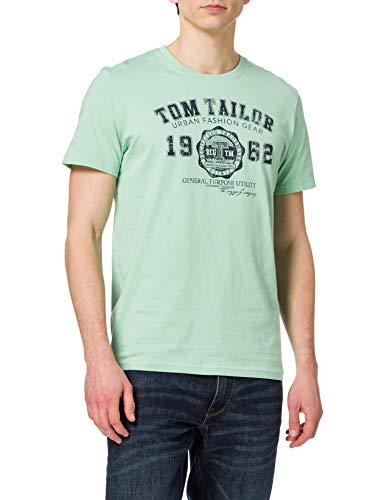 TOM TAILOR Herren Logodruck T-Shirt, 26009-Soft Jade, XL