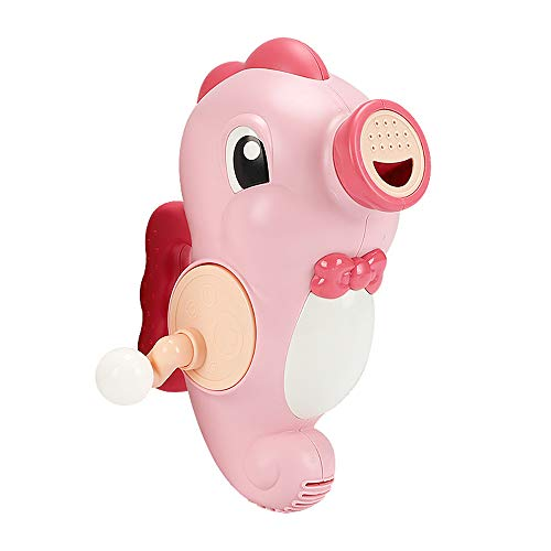 NEXTAKE Kids Bath Toy Hand Water Spray Toy Bathtub Pool Squirter Toy Rotating Sprinkler Manually Controlled Squirt Toy with Handle for Toddlers (Seahorse-Pink)