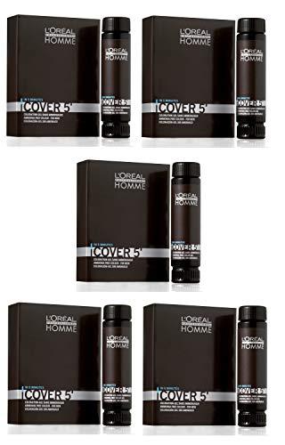L'Oréal Professionnel Lot de 5 flacons de 50 ml pour homme Cover 5 No 5 Châtain clair