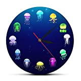 Usmnxo 12 Pulgadas (30 cm) Reloj de Pared de Medusas Marinas decoración de Acuario de guardería decoración de Jalea Marina Reloj de Pared Mural de Animales Marinos sin Marco