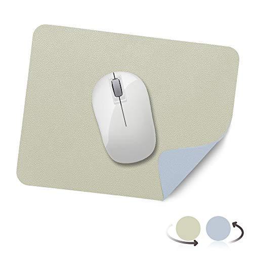 AtailorBird Mauspad, Office Mauspad(270*210*2mm), rutschfeste Mousepad doppelte Farbe wasserdicht PU Leder Matte für PC, Computer und Laptop - Hellgrün und Azure