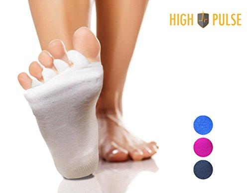 High Pulse Zehenspreizer Socken (1 Paar | Einheitsgröße) – Die sanfte Entspannung bei Hallux Valgus und Zehenfehlstellungen (Creme)