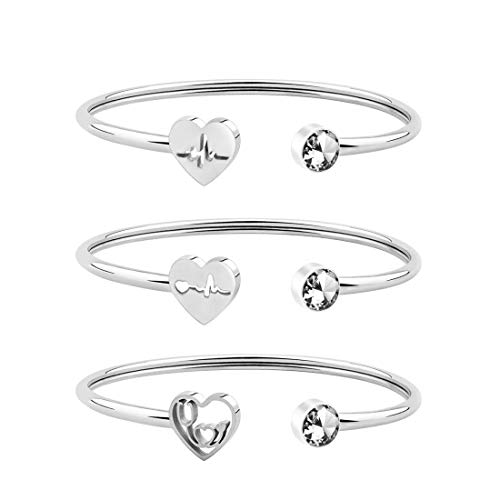 WUSUANED Dainty Heartbeat Stethoscope Cuff Bracelet Gift for Nurse Doctor Medical Student (Heartbeat Stethoscope Set of 3 S)