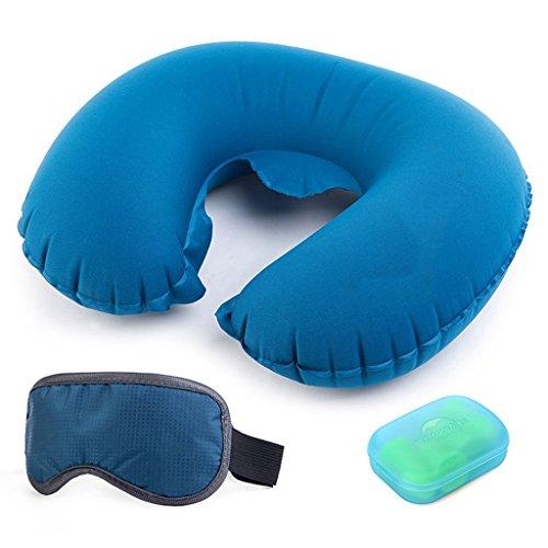 J-Kissen Reisekissen, tragbare Langstrecken-Flugzeug-Auto-Reise-Klage (aufblasbares Kissen, Ohrenpfropfen, Augen-Maske) Erwachsener Studenten-Schlaf-Artefakt (Farbe : Blau)