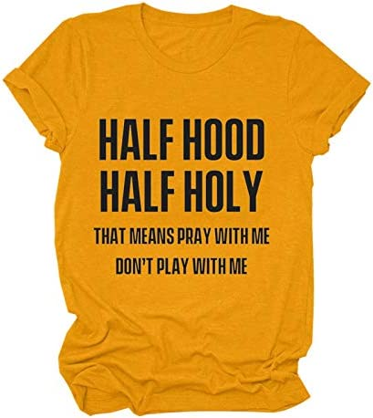 FFENYAN Half Hood Half Holy Women s Funny Letter Printed T Shirt Casual Short Sleeve Tees with product image