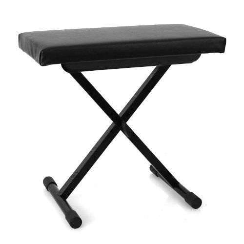 MALONE Tabouret de Piano (pour Piano, Clavier, synthé, siège épais Confortable, Housse en Cuir synthétique résistant, 3 hauteurs réglables, Pieds en Caoutchouc) - Noir