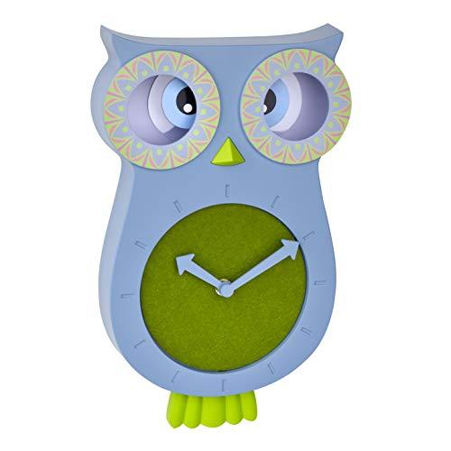 TFA Dostmann Reloj de Pared Infantil Willy 60.3052.06, silencioso, diseño de búho, Ideal para la habitación de los niños, Color Azul, 110 x 70 x 330 mm
