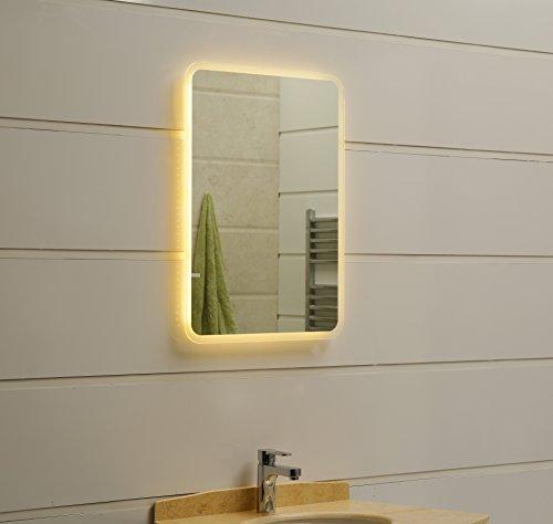Espejo de baño LED 50 x 70 cm, espejo de baño con esquinas redondeadas e iluminación LED, espejo de pared blanco cálido, 3000 K, IP44