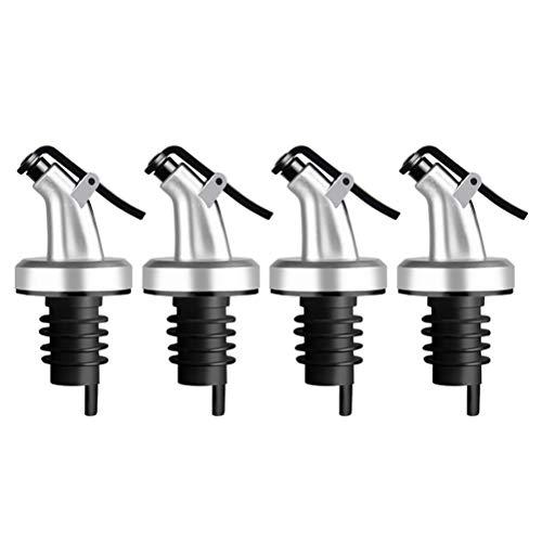 BESTONZON 4 unids Vertedor de Acero Inoxidable para Botellas con Tapón Boquillas para Botellas Accesorios de Cocina para Aceitera
