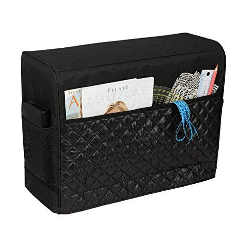 Bolso para Máquina de Coser,Cubierta protectora para máquina de coser con bolsillos de almacenamiento para máquina de coser y accesorios adicionales, 17x7.5x13inch (Negro)