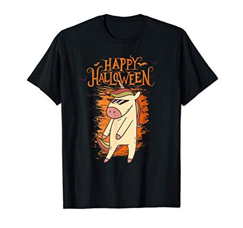 Feliz Halloween rociando el disfraz de unicornio Camiseta