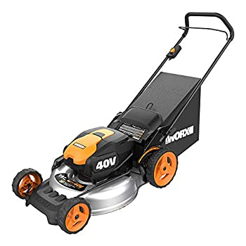 WORX WG751 40V 19   Cordless Lawn Mower 2 Batteries & Charger Included Black and Orange
