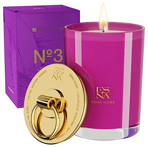 Luxury Aromatherapy Scented Candles, Soy Candles All Natural Lavender Essential Oils, 50 Hours Long Burning, Housewarming Gifts New Home, Gold Decor Lid, Scented Gardenia & Rose Candles, Wedding Gifts