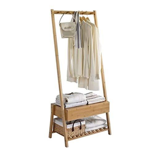 Stevig staand bamboe garderoberek - Voorzien van kapstok, lade & legplank voor schoenen - kledingrek - bamboe houten kledingrek - staand garderoberek - kleding rek met schoenenrek - Decopatent®