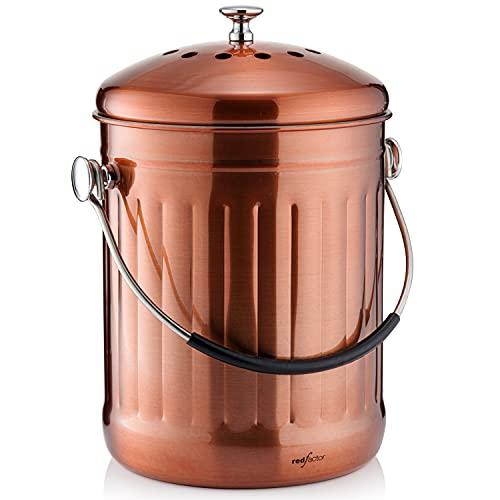 RED FACTOR Premium Seau Compost Inodore en Acier Inoxydable pour Cuisine - Poubelle Compost Cuisine - Comprend Filtres à Charbon de Rechange (Cuivre Mat, 5 litres)