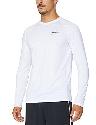 BALEAF Men's Long Sleeve Running Shirts Athletic Workout T-Shirts White Size M
