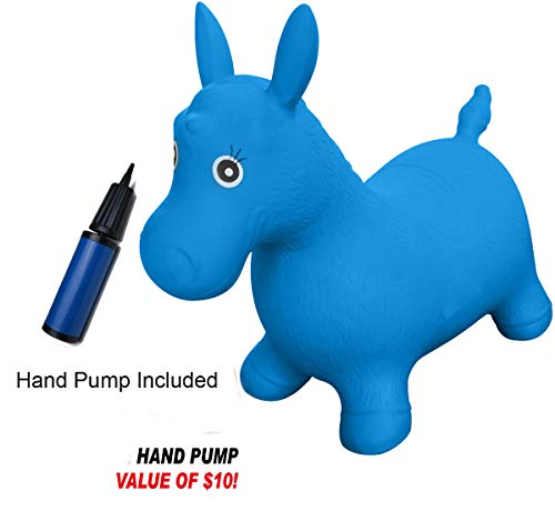 SUESPORT Horse Hopper Kit, Pump Included, Inflatable Jumping Horse, Space Hopper, Ride-on Bouncy Animal Hopper, Sit and Bounce, Blue