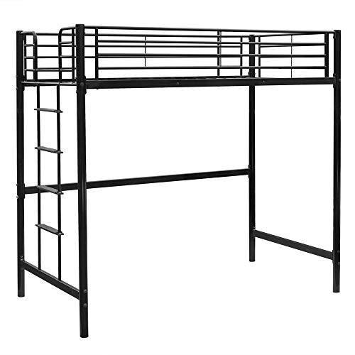 Bonnlo Twin Metal Loft Bed Frame for Kids/Adults/Teens, Space-Saving Design, Black