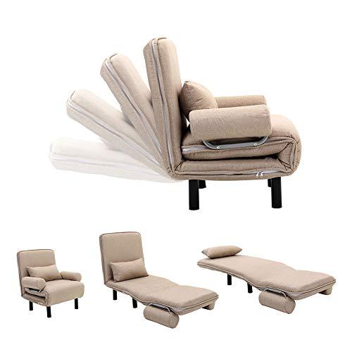 INMOZATA Sofa Bed Single Corner sofa Sleeper Folding Lounge Couch Recliner Armchair Tub Chair Bed with Sofa Cushion for Living Room Bedroom (Dark Beige)