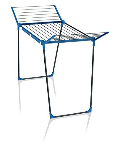 Leifheit Standtrockner Pegasus 180 Solid Blau Color Edition, 18m Trockenlänge für bis zu 2 Wäscheladungen, standfester Wäscheständer mit Flügeln für lange Kleidungsstücke für drinnen und draußen