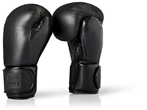 Paffen Sport Black Logo Echtleder-Boxhandschuhe für das Sparring und Training – schwarz – 14UZ