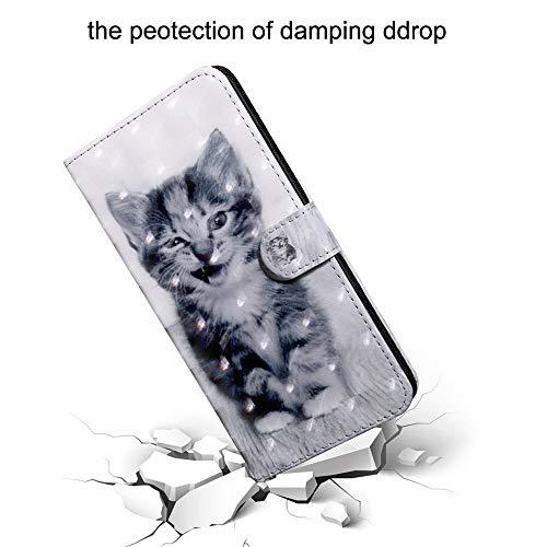 DodoBuy 3D Hülle für Huawei Y6 2019/Honor 8A, Flip PU Leder Schutzhülle Handy Tasche Brieftasche Wallet Case Cover Ständer mit Kartenfächer Trageschlaufe Magnetverschluss - Katze - 5