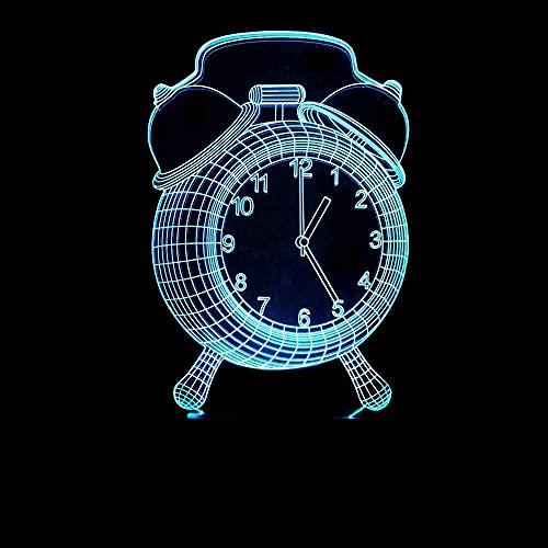 3D Luz nocturna para niños Lámpara De Ilusión La cara del reloj De Habitación De Niños Lámpara De Mesa Los Mejores Regalos De Vacaciones De Cumpleaños Para Niños Siete cambios de color, con int