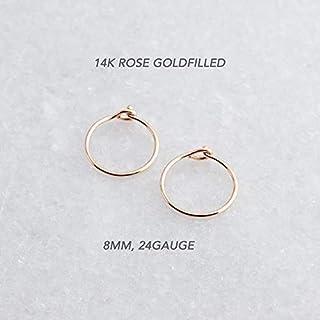 14k Yellow Gold 1mm Hoop Earrings 8MM x 1MM