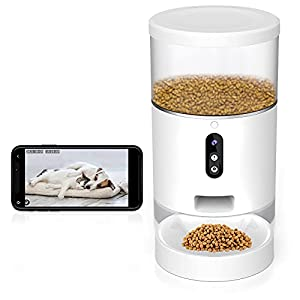 Automatic Cat Feeder with Camera, Dog and Cat Food Dispenser, Timed Cat Feeder with Desiccant Bag for Dry Food, Smart Pet Feeder with with Portion Control, APP Control, Only Support 2.4GHz Wi-Fi