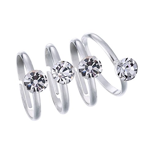 Mtlee 24 Pack Silver Artificial Diamond Rings for Table Decorations, Favor Accents